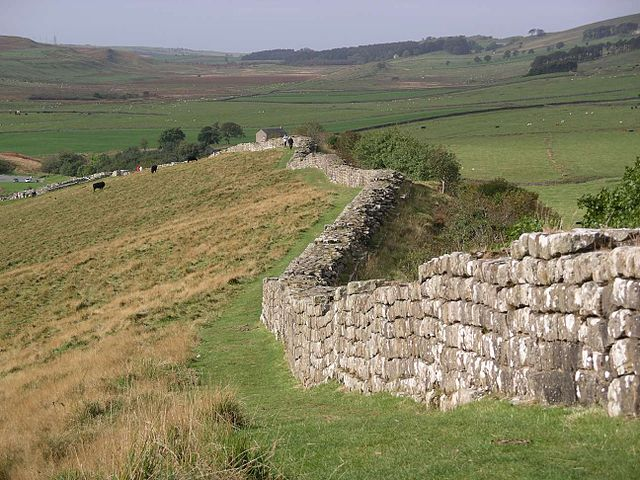 """Hadrian's wall at Greenhead Lough"", with thanks to Velella and Creative Commons"